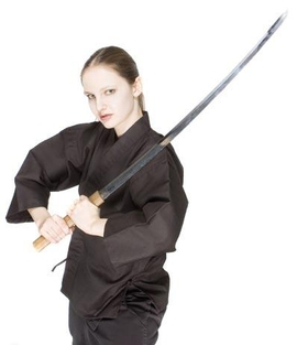 woman in black kimono with a sword